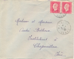 France 1946 Cover From Moirans With 2 X 1,50 Fr. Dulac Marianne - France