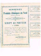 Script Ancien - Verreries Et Produits Chimiques Du Nord - Titre De 1920 - Rare - Mines