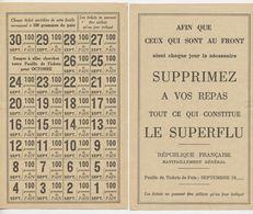 Feuille De Tickets De Pain 100 G Juin 1940 Ravitaillement Le Superflu ,sept 1939, Ie Guerre Mondiale, République - Documents Historiques