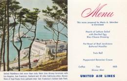United Airlines Menu And San Francisco Scene On C1950s/60s Vintage Postcard, Aviation Theme - Sonstige