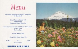 United Airlines Menu And Mt. Hood Scene On C1950s/60s Vintage Postcard, Aviation Theme - Andere