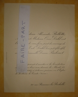 FAIRE-PART MARIAGE 1937 DAHL # BABINET BILLOTTE La Rochelle Fontenay-le-Comte - Wedding