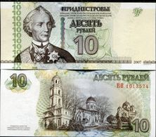 10 Pieces Transnistria - 10 Rubles 2007 UNC - Bankbiljetten