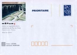 """PAP TSC Timbre """"Marianne De Lamouche - Bleu"""" Et Illust. """"Cloître Et Baptistère De La Cathédrale Du Puy-en-Velay (43)"""" - Entiers Postaux"""