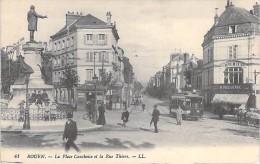 76 - ROUEN :  La Place Cauchoise Et La Rue Thiers ( Tramway Animation Imprimerie Commerces ) - Seine Maritime - Rouen