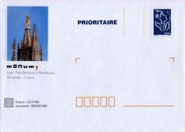 """PAP TSC Avec """"Marianne De Lamouche - Bleu"""" Et Illustration """"Tour Pey-Berland à Bordeaux (33)"""" - Entiers Postaux"""