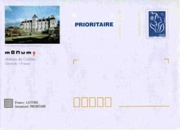 """PAP TSC Avec """"Marianne De Lamouche - Bleu"""" Et Illustration """"Château De Cadillac (33)"""" - PAP: TSC En Semi-officiële Bijwerking"""