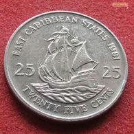 East Caribbean States 25 Cents 1981 KM# 14  Caribbean Caraibas Caraibes Orientales - East Caribbean States