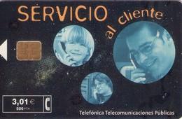 TARJETA TELEFONICA DE ESPAÑA USADA. 07.01 - TIRADA 37200 (474). SERVICIO AL CLIENTE. - Spain