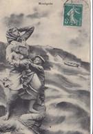 Cpa 2 Scans Illustrateur  Bouillé  14 - Houlgate Angoisse Femme Et Enfants Attendant Le Retour Du Mari Marin Pécheur - Houlgate