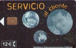 TARJETA TELEFONICA DE ESPAÑA USADA. 01.02 - TIRADA 21200 (477). SERVICIO AL CLIENTE. - Spain