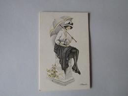 BIO-TEX, Mooie Dame Met Paraplu - Künstlerkarten