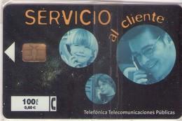 TARJETA TELEFONICA DE ESPAÑA NUEVA.CON BLISTER, MINT 09.00 - TIRADA 46000 (482). SERVICIO AL CLIENTE. - Spain