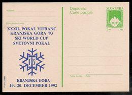 Slovenia: 1992 Private Overprint Postal Stationery Card, Ski World Cup Kranjska Gora  Unused - Slovenia