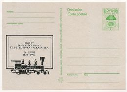 Slovenia: 1993 Private Overprint Postal Stationery Card, 120 Years Pivka - Rijeka Railway Unused - Slovenia
