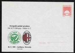 Slovenia: 1992 Stationery Envelope - 5SLT Arms - Private Overprint Ljubljana V A.C. Milan Football Unused - Slovenia