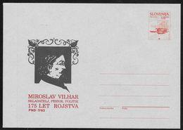 Slovenia: 1993 Stationery Envelope - 5SLT Arms - Private Overprint Miroslav Vilhar Unused - Slovenia