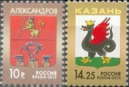 Russia, 2013, Mi. 1938-39, Coat Of Arms Of Of Kazan & Alexandrov, MNH - 1992-.... Federation