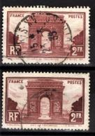 FRANCE 1929 - Y.T. N° 258 X 2 NUANCES   - OBLITERES - - Used Stamps