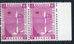 Belgium 1958 5f  ITU Issue  #522  MNH Pair - Belgium