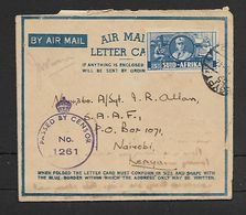 S.A.frica WWII Air Letter 3d Large Wars Effort EGYPT 55  PAID ..AU 42 C.d.s ,PASSED BY CENSOR No 1261 > Nairobi - South Africa (...-1961)