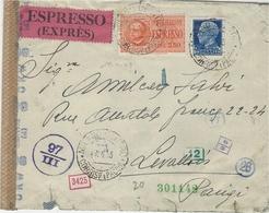 Avril 1943 - Enveloppe ESPRESSO  1,5 Lit + 2,50  Lit  De Milano To Paris  Censure Allemande O K W  Et Italienne - Storia Postale