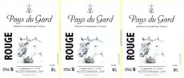LOT DE 3 ETIQUETTES PAYS DU GARD - CUBI 10L - ROUGE - PVO CHANTEMERLE - GARD - Vin De Pays D'Oc