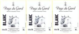LOT DE 3 ETIQUETTES PAYS DU GARD - CUBI 10L - BLANC - PVO CHANTEMERLE - GARD - Vin De Pays D'Oc