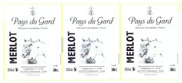 LOT DE 3 ETIQUETTES PAYS DU GARD - CUBI 10L - MERLOT - PVO CHANTEMERLE - GARD - Vin De Pays D'Oc