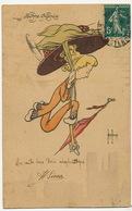 Henri Aurrens Né à Marseille Surrealisme Femme En Aeroplane Au Dessus De Paris Notre Dame - Aurrens