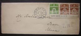 1933 Danemark  (KOBEN) Lettre Taxée T.10 Pour L'Alsace (Barr) Vignette à L Arrière - 1913-47 (Christian X)