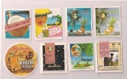 Etiquettes Mignonnettes MADRAS: Coco, Goyave, Pina Colada ,pruneaux, Planteur,punch D'amour Et Rhum  - GUADELOUPE - - Rhum