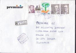 Spain PREMIAIR Registered Certificado Label AEROPUERTO MALAGA 1996 Cover Letra Denmark Juan Carlos Sellos Monzon - 1991-00 Briefe U. Dokumente