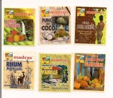 Etiquettes Mignonnettes MADRAS:punch  Bois Bandé,coco, Goyave, Planteur,vanille Et Rhum Agricole - GUADELOUPE - - Rhum