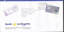 Spain BARCELÓ Las Margaritas Gran Canaria Registered Certificado MASPALOMAS Las Palmas 1996 Cover Letra ATM / Frama - Poststempel - Freistempel