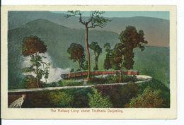 Postcard India DARJEELING STEAM  RAILWAY   Engine Railway Loop Above Tinhara Scarce Card - India