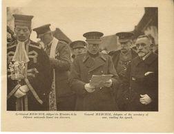 Mons Inauguration Du Monument Irlandais à La Bascule Le 11/11/1923 Le Général Merchie Lisant Son Discours - War 1914-18