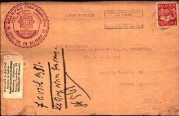 87080) Belgio Cartolina Con  2,50 F.agricoltura Da Bruxelles A Catania  Il 7/4/1951 Bollo Massone - Francia