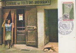 Carte  Maximum  1er  Jour   ANDORRE   Centenaire  De  La  1ére  Liaison  Téléphonique   1976 - Cartoline Maximum