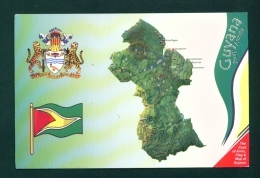GUYANA  -  Map, Flag And Coat Of Arms  Used Postcard As Scans - Postcards