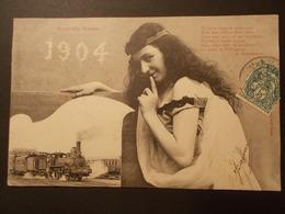 Carte Postale -  Fantaisie Train Nouvelle Année 1904 (2092) - Mujeres