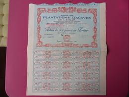 ACTION DE 500 FRS SOCIETE DES PLANTATIONS D'AGAVES DE L'ANNAM  SAIGON 1924 BELLE DECO - Azië