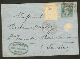 N°29 (Position 27A2) Sur Lettre-Etoile De Paris N°22-Destination Savoie - 1863-1870 Napoleon III With Laurels