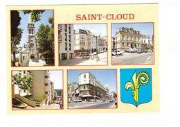 92 Saint Cloud Carte 5 Vues + Blason Eglise Place Eglise Hotel De Ville Village Rue Royale Rue Dailly CPM Non Voyagée - Saint Cloud