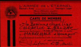 87153) Belgio Tessera D'iscrizione Alla -l'armee De L'eternel - Religione & Esoterismo