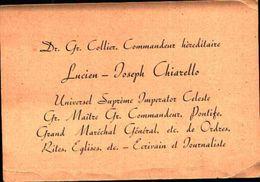 87154) Cartoncino O Biglietto Da Visita Del Dr.gr.collier ,commandeur Hereditarie,universal Supreme Imperator Celeste - Religione & Esoterismo