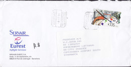 Spain SERVAIR Eurest Inflight Services Registered Certificado Label AEROPUERTO BARCELONA 1999 Cover Letra ATM / Frama - Poststempel - Freistempel