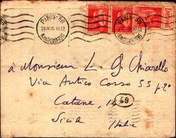 87088) Francia-lettera Con 3x50c Di Cui 1 Con  ETICHETTA PUBBLICITARIA.L'ARTVIVANT-da Parigi A Catania Il 25/4/1935 - Francia