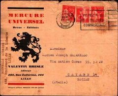 87089) Francia-lettera Pubblicitaria  Con 3x50c.marianna-da Lille A Catania Il 28/3/1934 Mittente Interessante - Francia