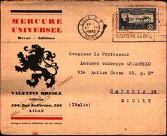 87090) Francia-lettera Pubblicitaria  Con 1,50f..posta Aerea-da Lille A Catania Il 30/12/1933 Mittente Interessante - Francia